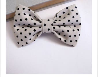 Bow tie and clip hair 2 in 1 beige dots
