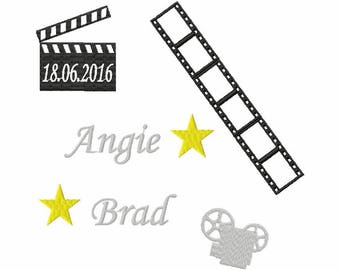 Wedding pillow ring bearer embroidered movie theme and personalized