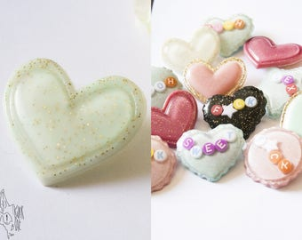 Green glitter resin heart badge
