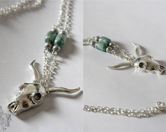 Silver Buffalo skull charm