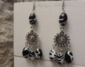 """Earrings """"collection black & white"""" rounds and pearls"""