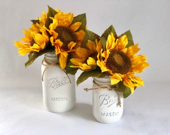 Small 16 oz. Ball Jar with Sunflowers, Artificial Flower Arrangement, Hand Painted and Distressed, Home Decor, Country Chic, Cottage