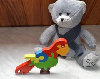 Seven pieces Parrot Puzzle wooden toy