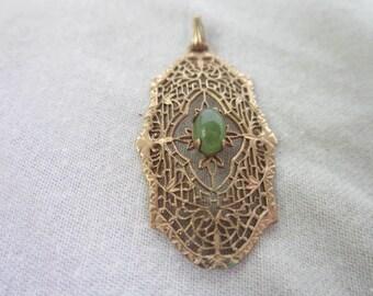 Antique Victorian Filigree Gold Filled & Jade Center Stone Necklace Pendant