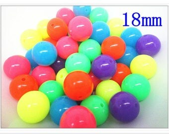 Set of 6 acrylic beads bright vivid colors 18 mm
