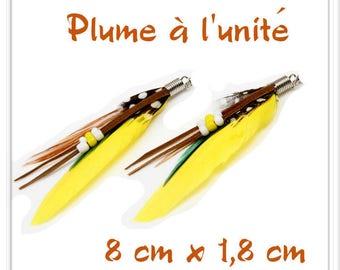 Yellow black brown l ' single white feather pendant