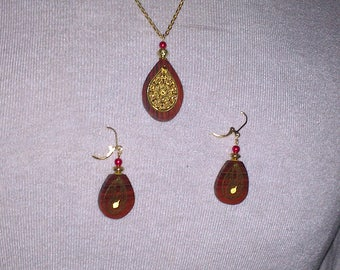 Set necklace + earrings made of Cocobolo wood