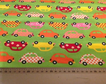 Cars on Green  Brushed Cotton Flannel Winceyette Fat Quarter Fabric