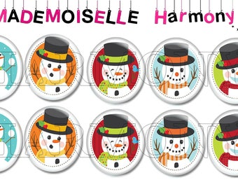 10 glass cabochons 18/25 mm snowman with snow Christmas size 18/25 mm cabochons