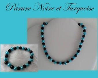 Set Turquoise and black pearls intense Collection