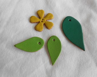 1 set of 3 leaves and a genuine leather flower