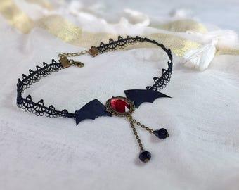 Crew neck lace black vampire bat wings
