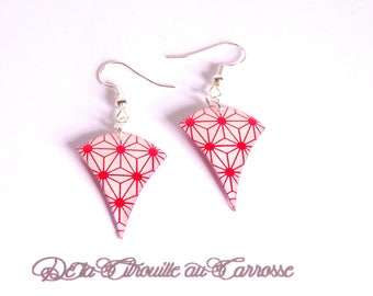 Japanese motif, white and Red earrings