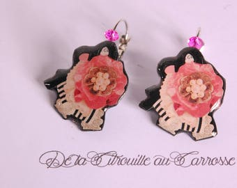 Pink Flower Earrings, ribbons