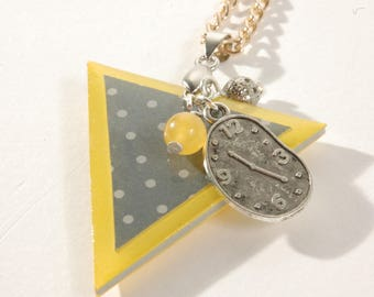 Triangle earrings, yellow and gray with polka dots, clock and yellow bead charm