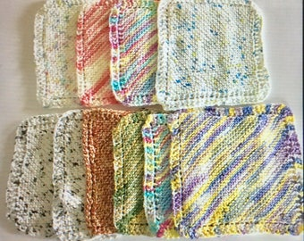 Knit Dish Cloths - Cotton Dish Rags - all 10 for one price
