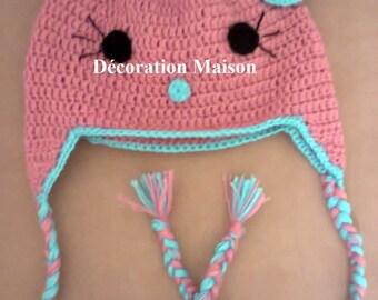 Turquoise pink cat crochet Hat