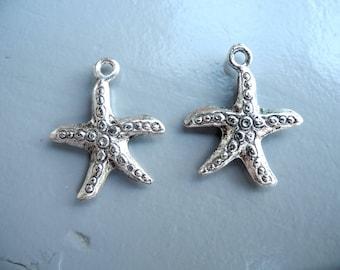 """Silver metal charm """"Starfish"""" nickel free"""