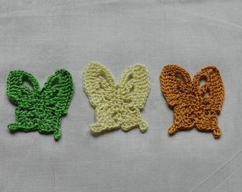 Set 3 butterflies 4.5 cm mustard/yellow/green scrapbooking/customization