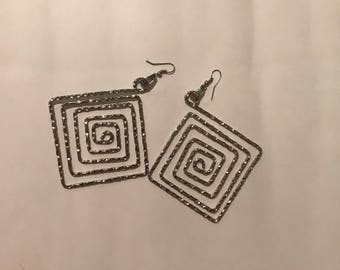 Square Silver Big Earring