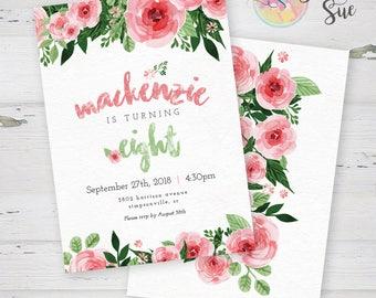 Floral Girl Birthday Party Invitation  Printable Invitation