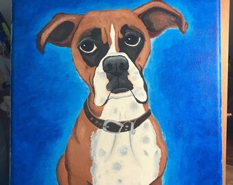 Original Boxer dog painting