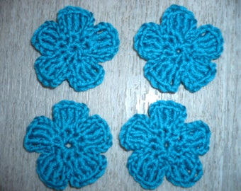 four crochet flowers, teal, sewing or craft