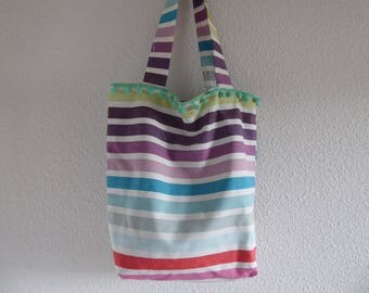 Rainbow striped cotton lined tote bag