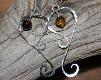 Earrings in sterling silver with Tiger eye bead