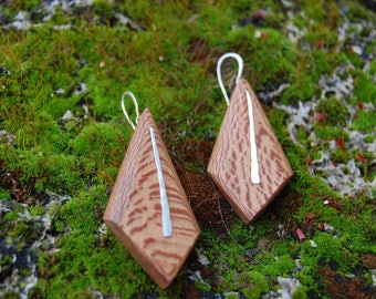 Sycamore wood and Sterling Silver earrings