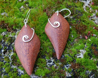 niangon wood and Sterling Silver earrings