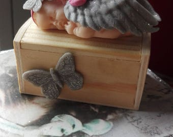 Box with a polymer clay Angel baby