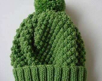 """Snowball"" hat in Merino - bright green"