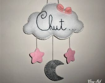 """Hush """"Cloud, Star and Moon"""" pendant with knit bow"""