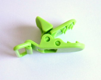Pacifier clip green resin, lime green Alligator Clip