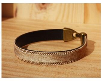 10 mm beige chain leather Cuff Bracelet