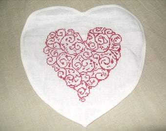 HAND EMBROIDERED HEART SMALL CUSHION