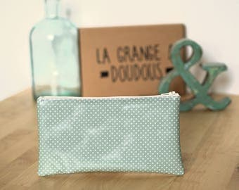 Pencil case blue with white polka dots