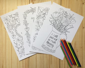 Bible Verse Colouring Prints - Free Gift - Pack of 4 - Christian Colouring - Christian Gifts - Colouring Sheets - Stocking Filler