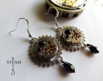 Black Watch movement Swarovski earrings Steampunk by Steamretro