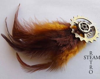 Steampunk brooch - brooch - Pin feathers - steampunk - steampunk jewelry - women's steampunk jewelry - prong