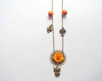 orange metal bronze Pearl pendant necklace