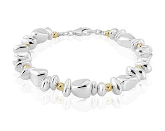 Gold Silver Nugget Bracelet