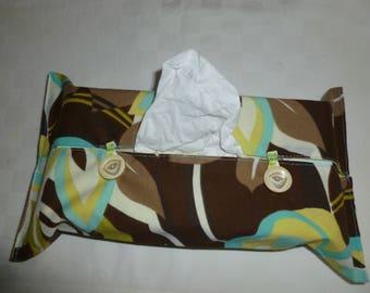 Tissue box cover. Flower print fabric case
