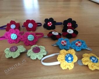 Art crocheted hair Barrettes