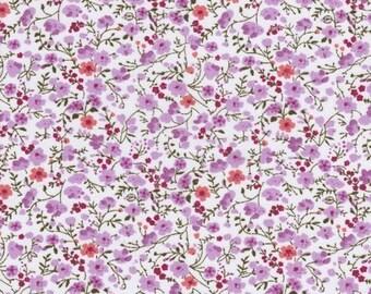 Fabric flowers liberty type - cotton - coupon 50 x 55 cm
