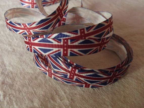R62 - Antique English flag - 10 mm - 1 m grosgrain Ribbon