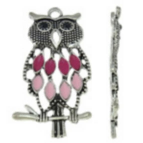 "1 large enameled silver tone ""OWL"" charm size 25 x 52 mm"