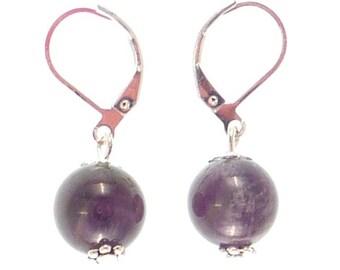 Earrings sleepers silver plated - Amethyst