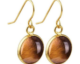 Round dangle earrings plated gold - Tiger eye
